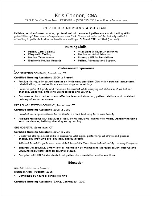 cna certified nursing assistant resume sle foto