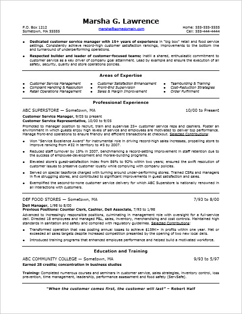 Sample Resume for a Customer Service Manager