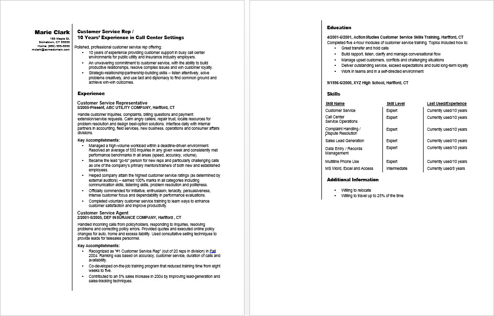 smiling then check out this sample resume for a customer service rep
