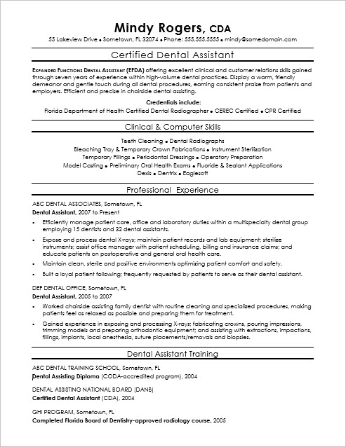 Sample Resume for a Dental Assistant