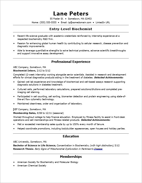Sample Resume for an Entry-Level Biochemist