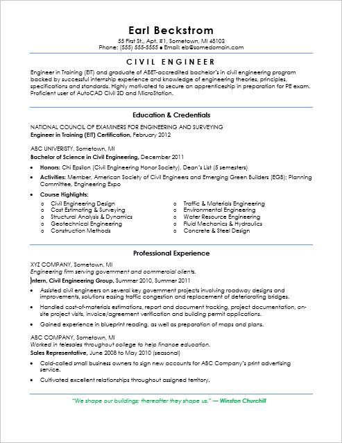 Sample Resume for an Entry-Level Civil Engineer
