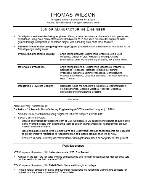 Sample Resume for an Entry-Level Manufacturing Engineer