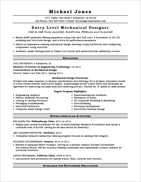Sample Resume for an Entry-Level Mechanical Designer