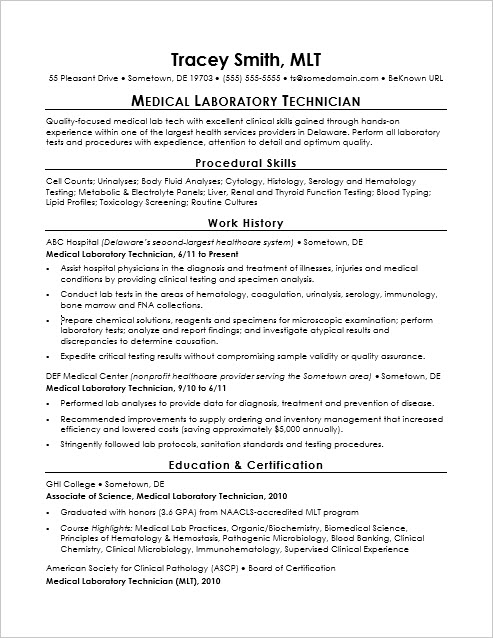Sample Resume for an Entry-Level Medical Lab Technician