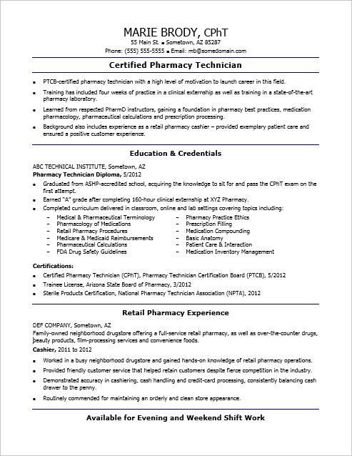 Sample Resume for an Entry-Level Pharmacy Technician