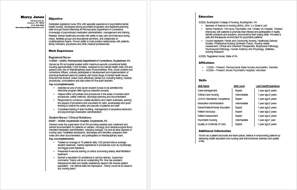 Sample Resume for an Entry-Level RN