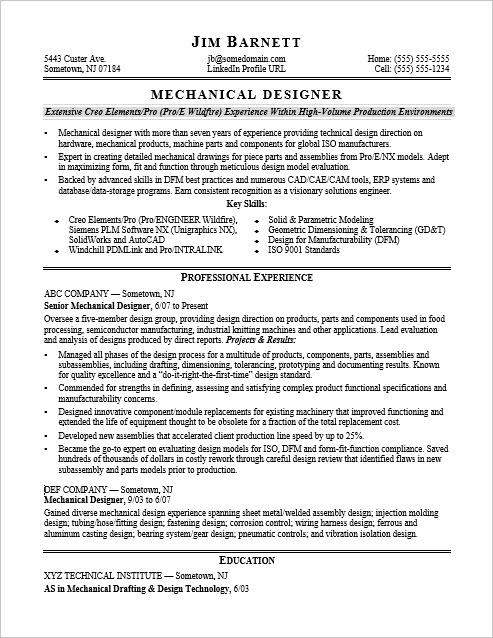 Sample Resume for an Experienced Mechanical Designer