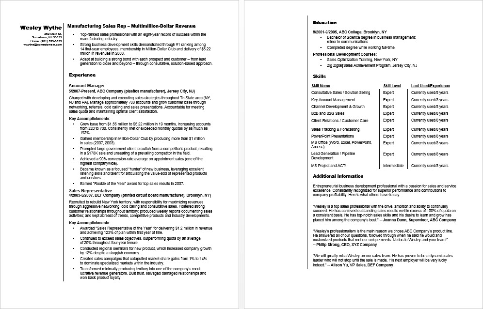 Sample Resume for a Manufacturing Sales Rep