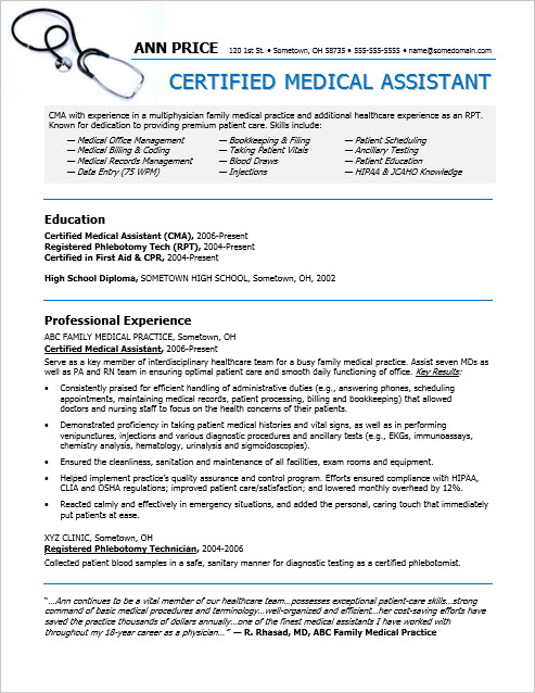 Sample Resume for a Medical Assistant