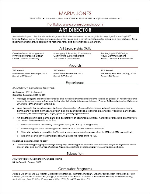 Sample Resume for a Midlevel Art Director