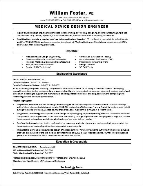Sample Resume for a Midlevel Design Engineer