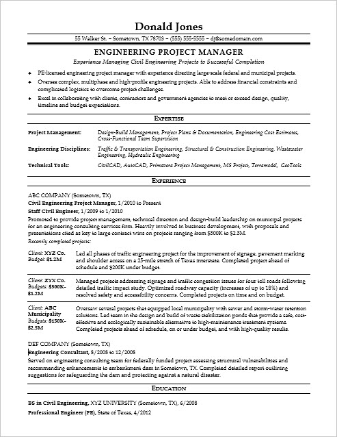 Sample Resume for a Midlevel Engineering Project Manager
