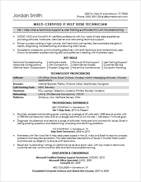 Sample Resume for a Midlevel IT Help Desk Professional