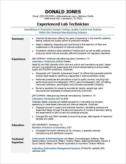 Sample Resume for a Midlevel Lab Technician