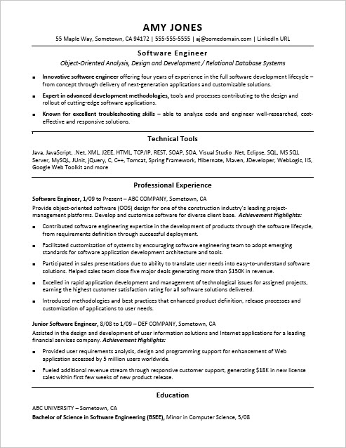 Sample Resume for a Midlevel Software Engineer