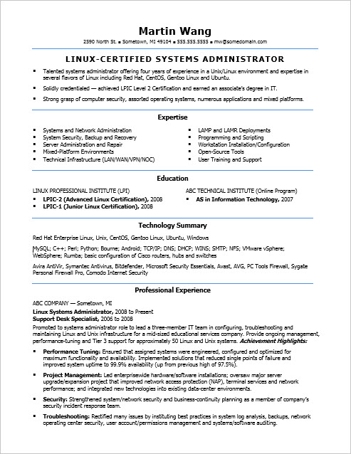 System administrator sample resume