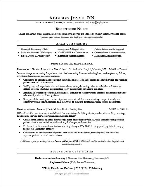 Sample resume for a nurse
