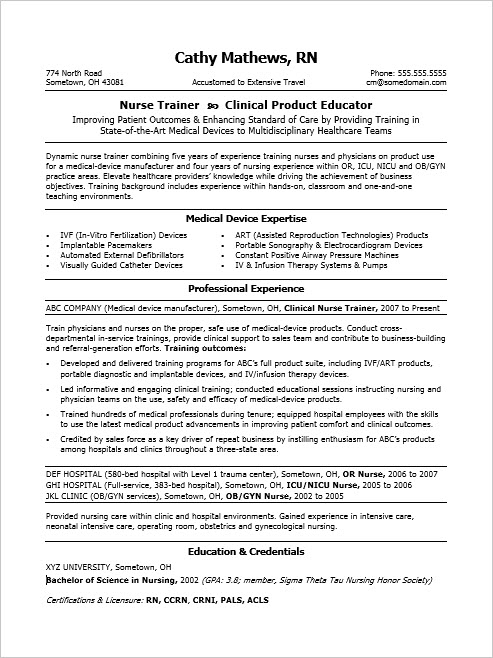 Sample Resume for a Nurse Trainer