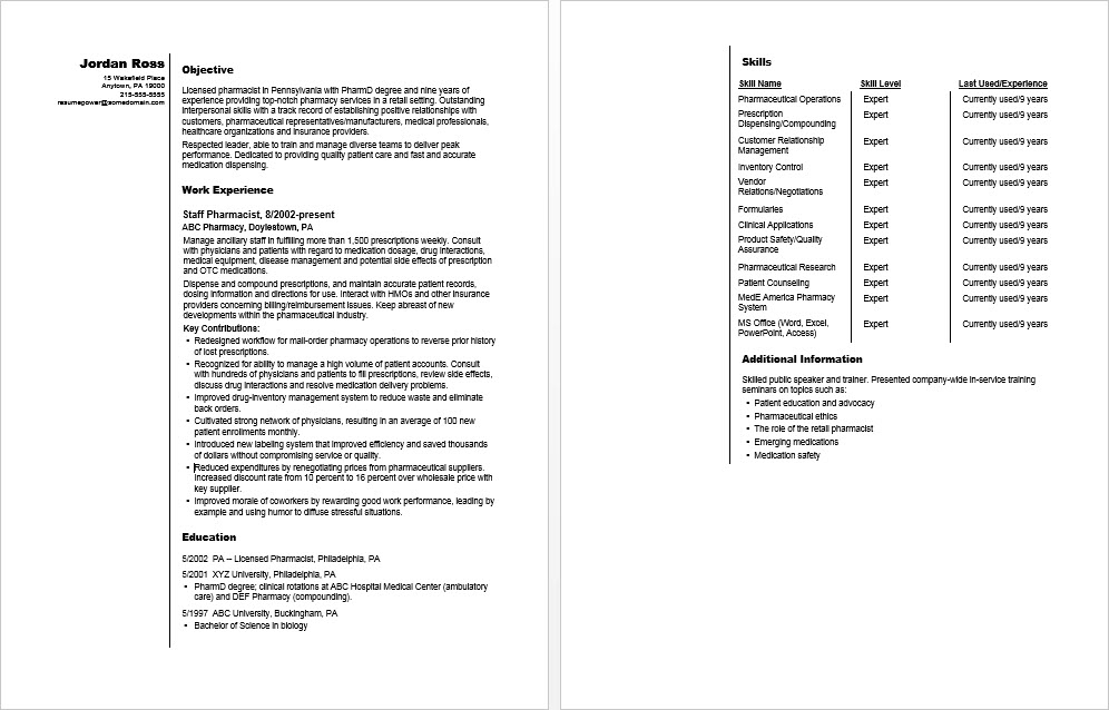 Sample Resume for a Pharmacist