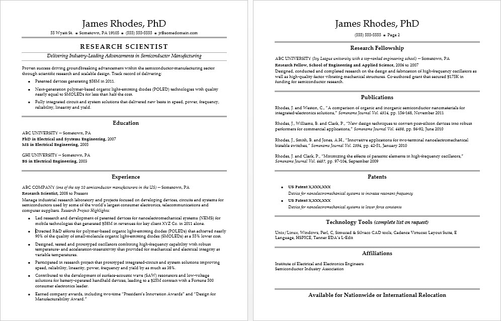 Sample Resume for a Research Scientist