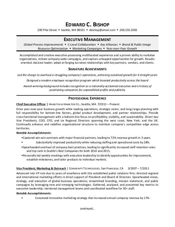 executive manager resume sample
