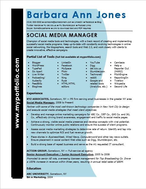 Social Media Resume Sample Monster Com