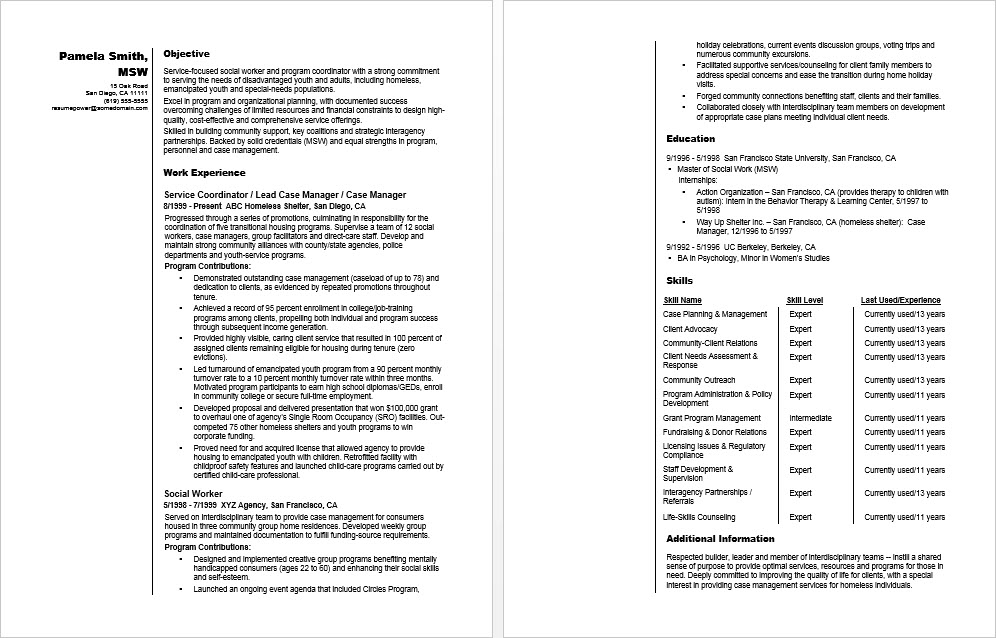 Sample Resume for a Social Worker