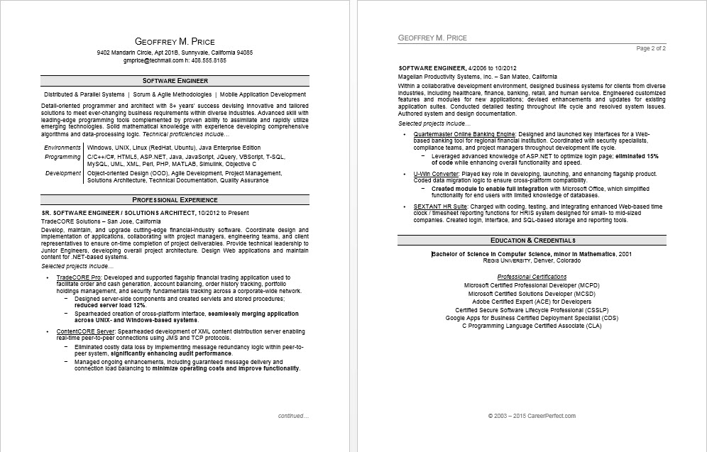 Sample resume for a software engineer