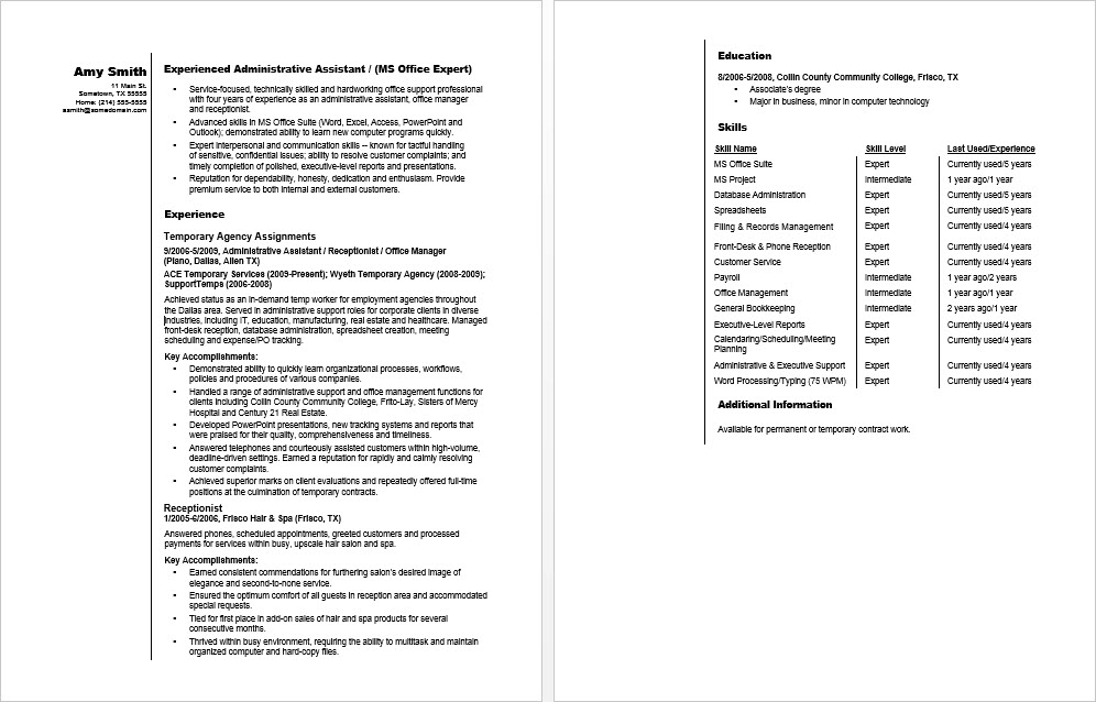 Sample Resume for a Temporary Admin Assistant