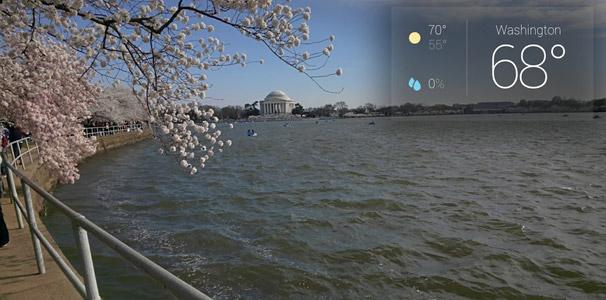 Google Glass erweiterte das Sichtfeld um Informationen wie Wetter. © Google