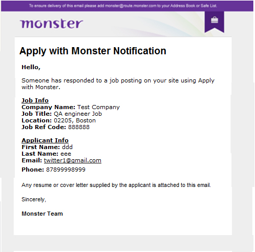 Apply with monster notification