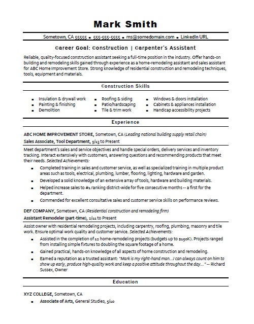 construction  carpenter u2019s assistant resume sample
