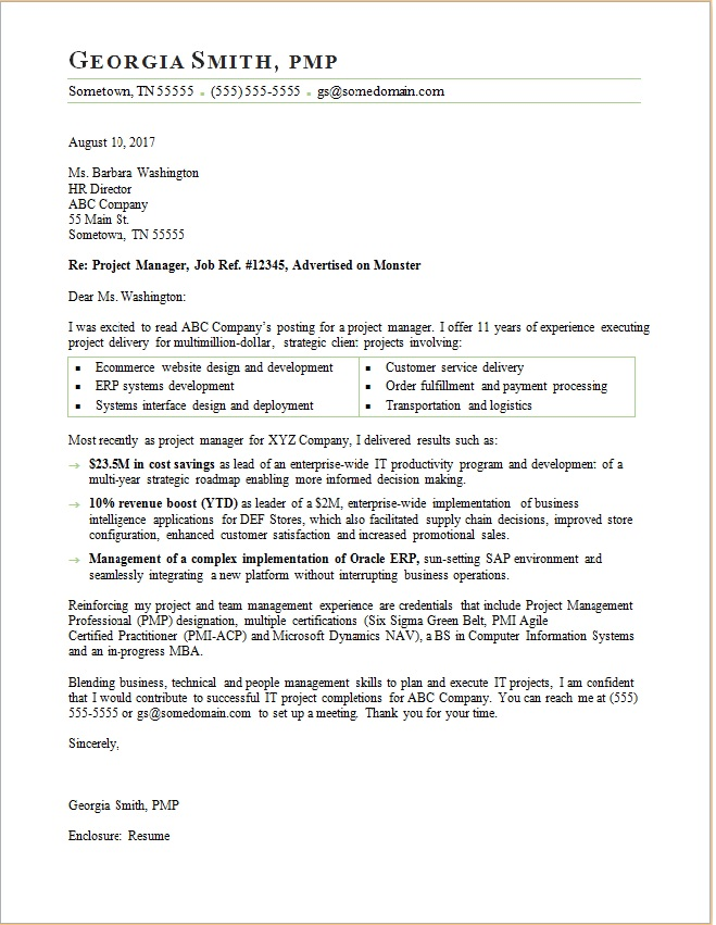 project manager cover letter sle