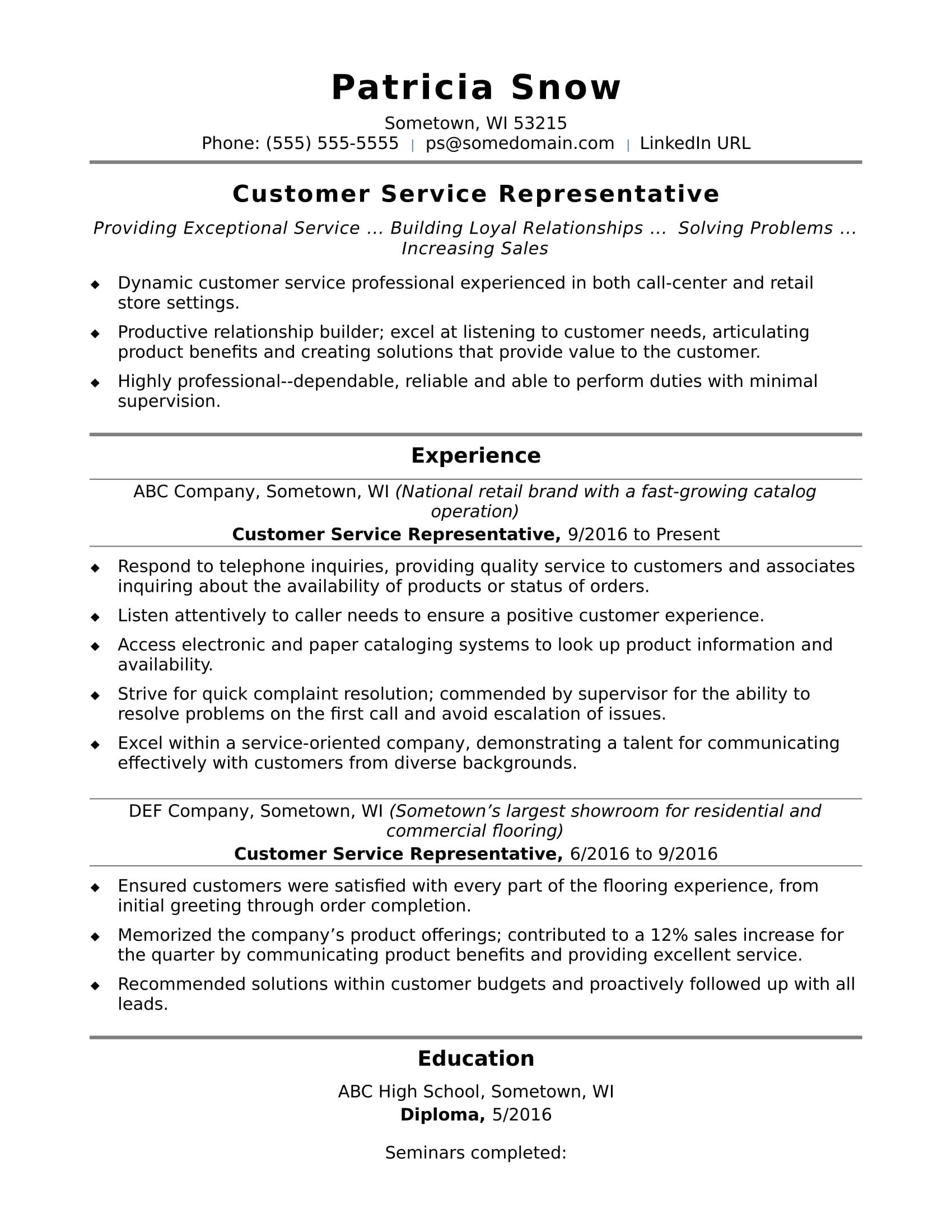 Sample advanced level customer service resume