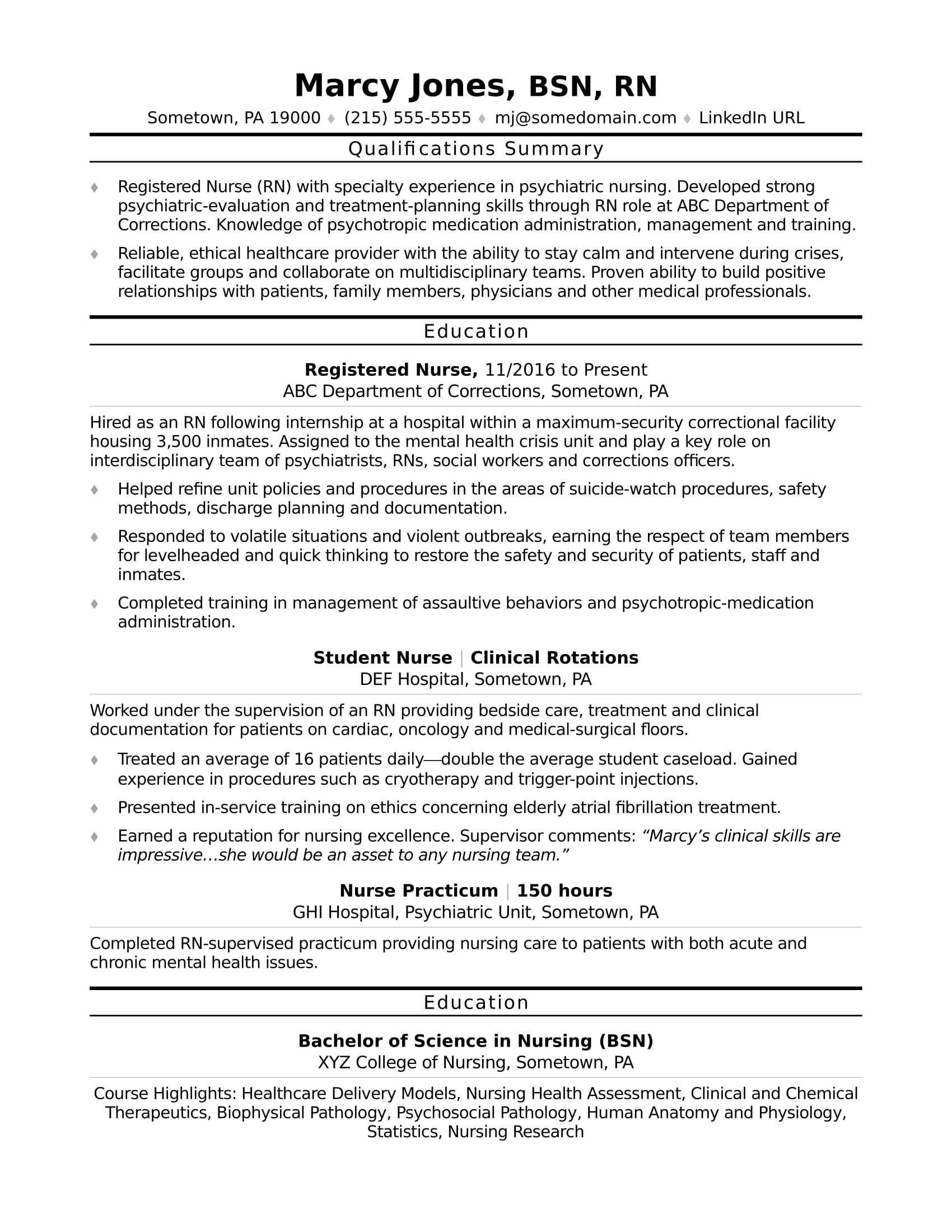 registered nurse  rn  resume sample