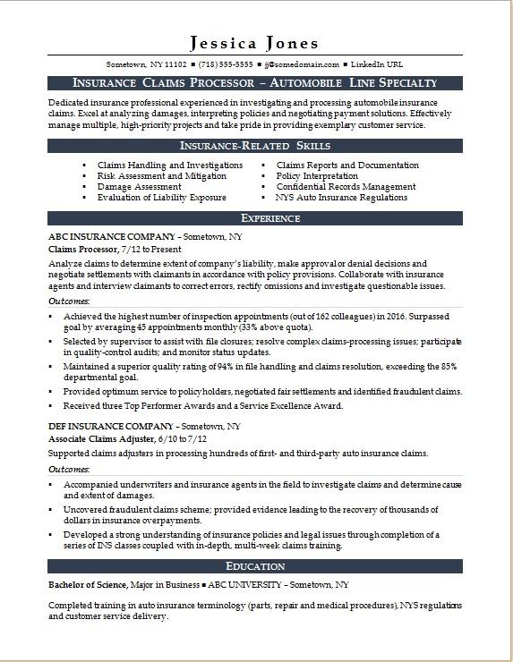 Claim processor resume