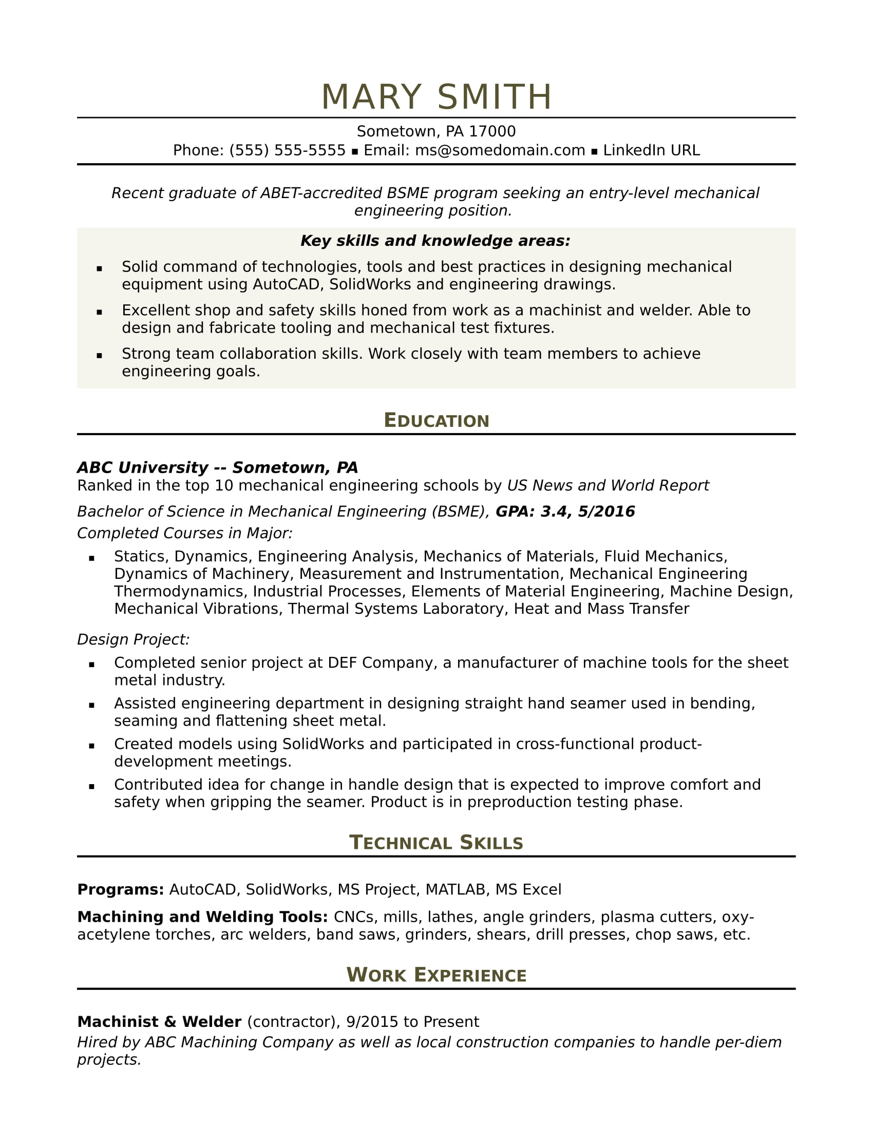 Sample Resume For An Entry Level Mechanical Engineer