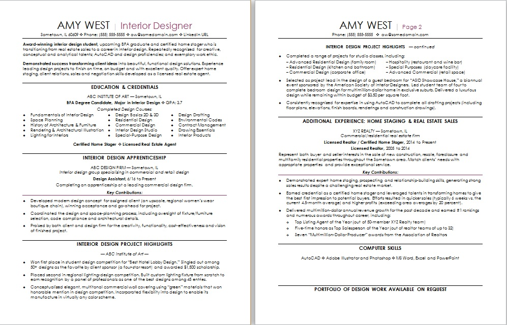 interior design resume sample