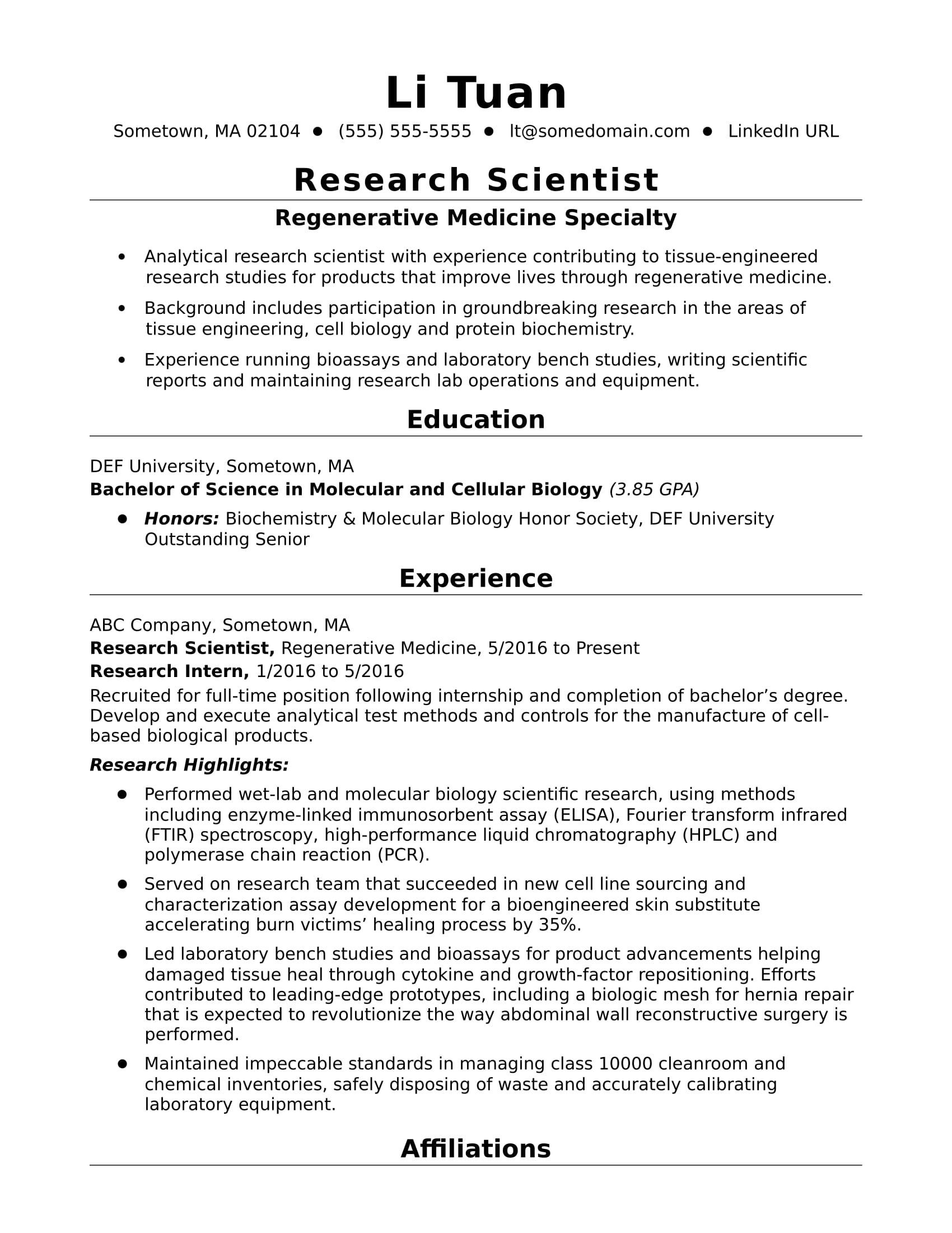 EntryLevel Research Scientist