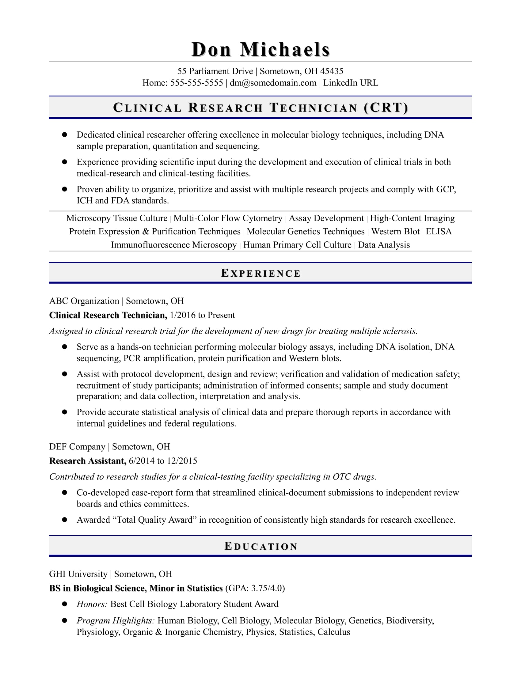 entry level research technician resume sle