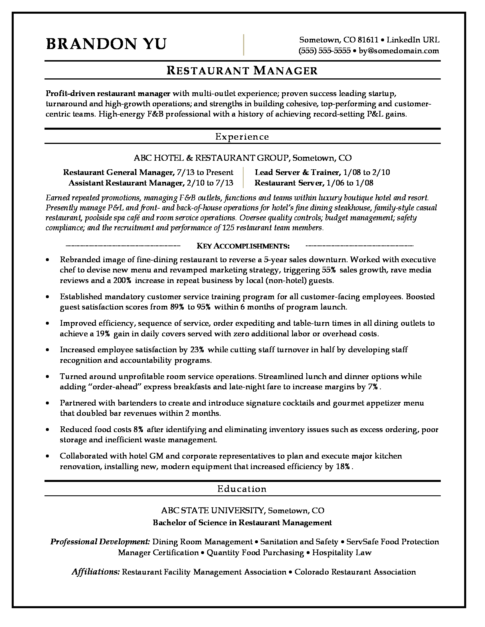 Restaurant Manager Resume Sample Monster Com