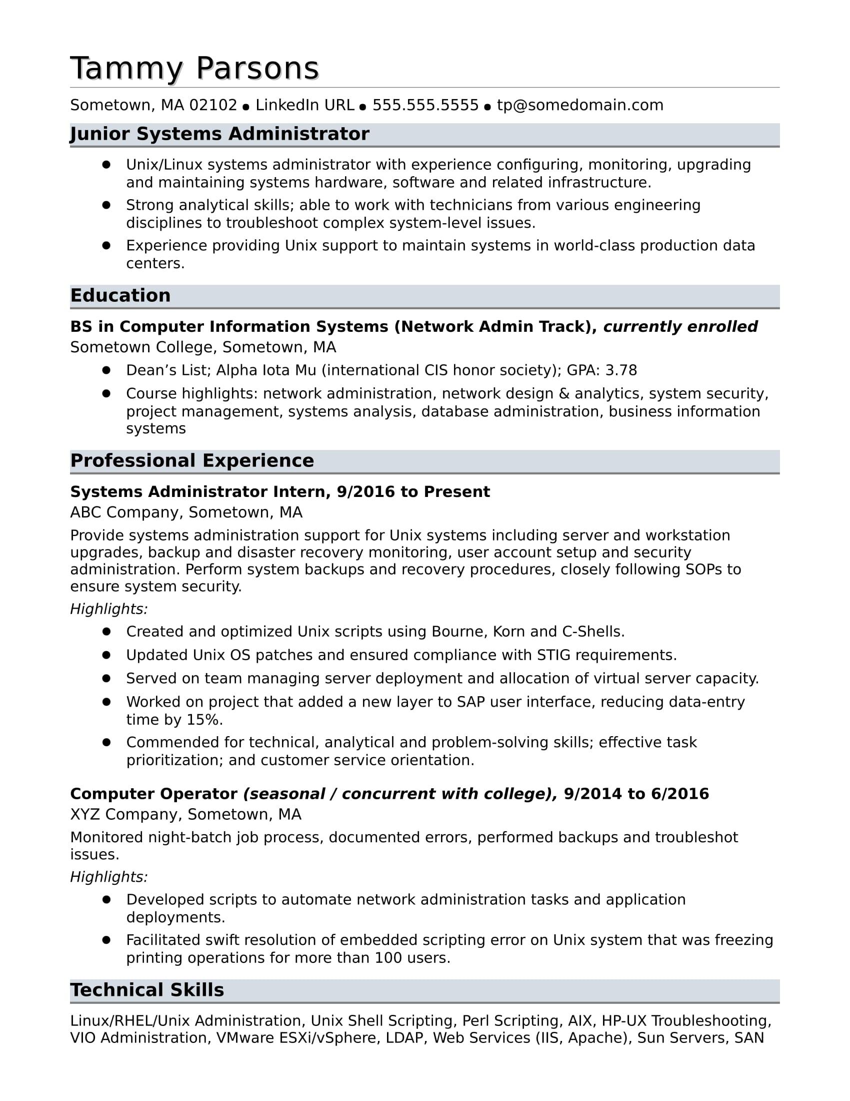 sample resume for an entry