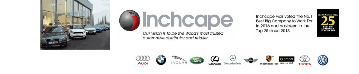 <p>Inchcape Retail work in partnership with some of the word's most exciting automotive barnds, including Mercedes Benz, Jaquar, Land Rover, Audi, BMW, MINI, Porsche, VW, Toyota and Lexus, providing motorists, businesses and vehicle manufacturers with a variety of automotive services. These include retail car sales, car servicing, parts distribution, bodywork repair and a range of highly competitive financial services. <br /><br /> Inchcape celebrated its place as the No. 1 Best Big Comapny to Work For in 2016. This amazing accolade came directly from the voice of our people, so we are very proud of this achievement. Inchcape works together as one team to achieve its goals, so whatever your role is within our business you will be a valued member with the opportunity to make a difference.</p> <p> </p>
