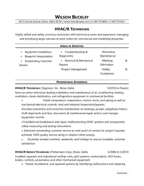 hvac technician resume sle