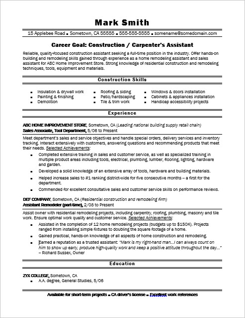 Construction Carpenter S Assistant Resume Sample Monster Com