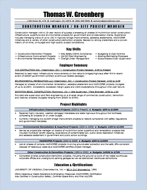 Construction Manager Resume Sample Monster Com