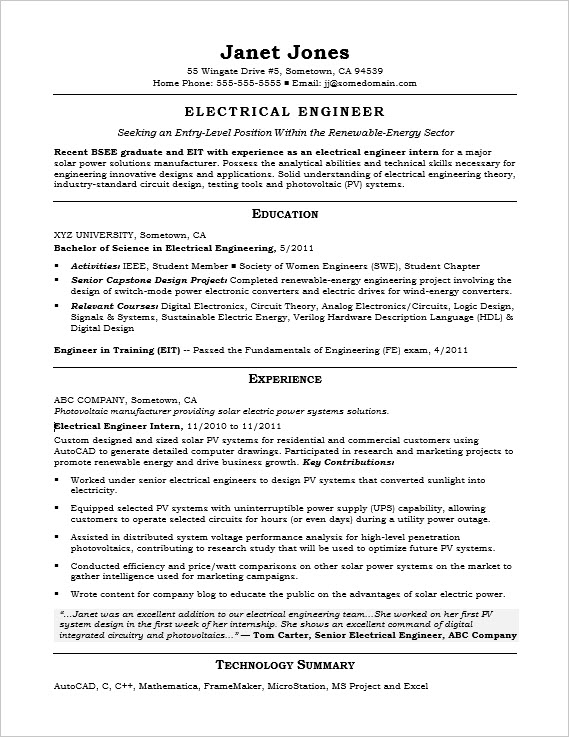 Entry level electrical engineer sample resume for Sample resume of an electrical engineer