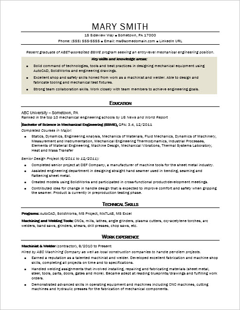 sle resume for an entry level mechanical engineer