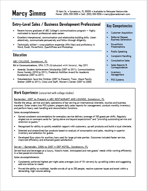 entry level sales resume sample